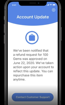 In-app refund notification, WWDC 2020